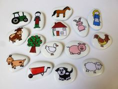 Down at the farm story stone collection van STORYSTONESLOU op Etsy