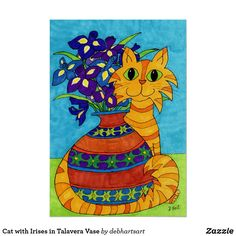 Cat with Irises in Talavera Vase Poster #art #cat #cats #catlovers #roomdecor #homedecor  #shopping #shoponline #shopnow This is an affiliate link and I will be compensated if you make a purchase after clicking on my link.