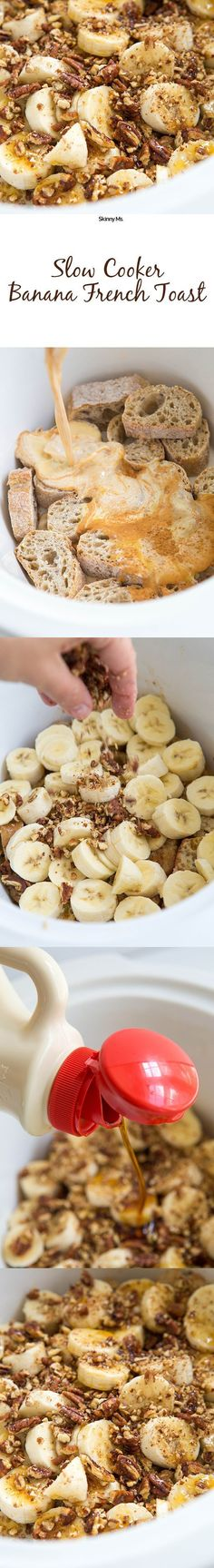 This recipe for Slow Cooker Banana Pecan French Toast is so decadent, but its actually made with all natural sweeteners! Clean-eating is so delicious. recipes for slow cooker Crock Pot Recipes, Crock Pot Cooking, Slow Cooker Recipes, Cooking Recipes, Vegetarian Crockpot Recipes, Crock Pots, Apple Recipes, Soup Recipes, Breakfast And Brunch