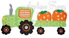 Pumpkin Tractor Applique Design-pumpkin patch, tractor, pumpkins, corn, scarcrow, tractor ride, hay ride.