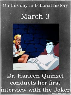 """Dr. Harleen Quinzel conducts her first interview with the Joker."" - Batman: Arkham Asylum(Source)"