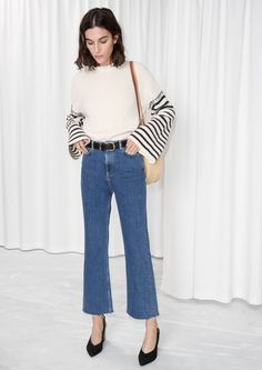 Other Stories image 1 of Cropped Flared Denim Jeans in Blue