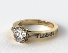 14K Yellow Gold Baguette and Pave Engagement Ring