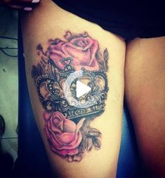 Girl Thigh Tattoos, Baby Tattoos, Girly Tattoos, Heart Tattoos, Skull Tattoos, Pink Rose Tattoos, Tatoos, Crown Tattoos For Women, Sleeve Tattoos For Women