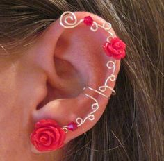 """Non Pierced Ear Cuff  """"Roses are Red"""" Cartilage Conch Cuff Silver tone and Red Lucite Roses. $12.00, via Etsy."""