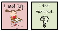 Cards for students with selective mutism...nice blog and free cards for non verbal students : )