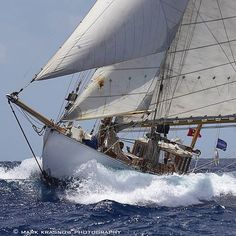Age and Beauty. Anne Marie - A Beautiful 1911 Harris Gaff Yawl Racing by in Antigua - 72 Feet LOA Classic Sailing, Classic Yachts, Sailing Ships, Sailing Yachts, Sail Away, Wooden Boats, Florida Keys, Courses, Marines