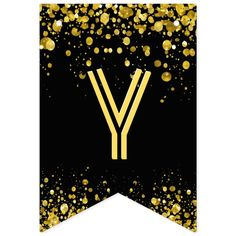 Banderines confeti del oro del ☆HAPPY BIRTHDAY☆ | Zazzle.com Banner Letters, Diy Banner, Carrie, Happy Birthday Signs, Bold Typography, Gold Confetti, Bunting Banner, Flag Design, Birthday Parties