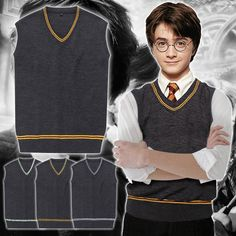 Harry potter Gryffindor Hufflepuff Slytherin Ravenclaw Knit Vest Sweater Costume #Unbranded