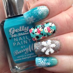 """Snowmen and Snowflakes by deanne29 via Instagram. """"I use nail brushes I bought…"""