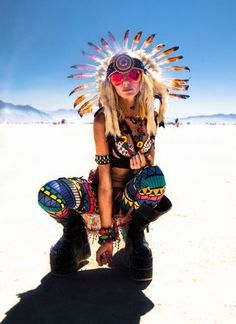 burning man clothing - Feather headdresses neon leggings