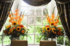 Autumn pedestal arrangements with sunflowers and gladioli Gladiolus Arrangements, Sunflower Arrangements, Church Flower Arrangements, Fall Floral Arrangements, Wedding Arrangements, Flower Centerpieces, Church Wedding Flowers, Orange Wedding Flowers, Fall Flowers