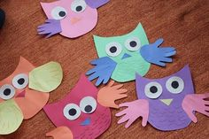 glued owls...Kyleigh LOVES owls!