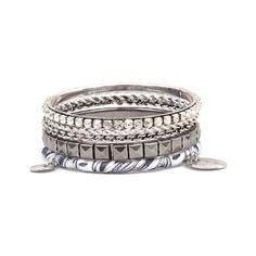 BKE Bangle Bracelet Set ($11) ❤ liked on Polyvore featuring jewelry, bracelets, silver, bangle bracelet, silver hinged bangle, bangle jewelry, silver jewellery and silver jewelry