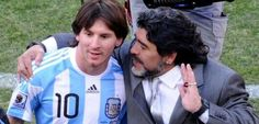 Two gods of football #maradona #messi