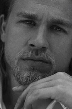 Son's of Anarchy Jax teller, Charlie hunnam......God I love this man in black and white!!!