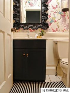 The Chronicles of Home: Powder Room wallpaper + painted black vanity