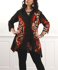 Farb- und Stilberatung mit www.farben-reich.com - Look at this #zulilyfind! Black & Red Swirl Button-Up - Plus #zulilyfinds