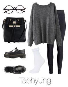 """Airport Fashion: Taehyung"" by btsoutfits ❤ liked on Polyvore featuring H&M, Dr. Martens, Ted Baker and Topshop"