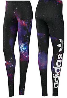 New Womens Adidas Originals Black Big SPACE TREFOIL LEGGINGS Pants Sport Running