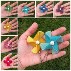 pinwheels felt hair accessories with many colors. Cài tóc hình chong chóng nhiều màu.
