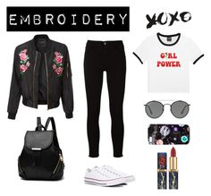"""""""Embroidered beauty"""" by victoria-york ❤ liked on Polyvore featuring LE3NO, Frame, Ray-Ban, Nikki Strange, Converse, contest, black and embroidery"""
