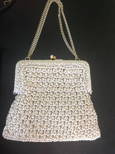 Magid 1960's Vintage Beige Beaded Straw Snap Latch Hand Bag Purse Chain Italy  | eBay