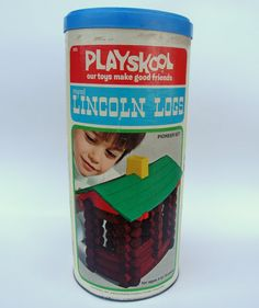 Vintage Lincoln Logs Pioneer Set in Can 1974.        I think that this is the exact container that I had.