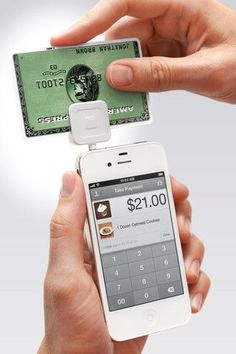 how cool is this.  a small device that inserts into your iPhone and allows you, with the aid of an app to process credit card payment right from your phone... this would be great for work!