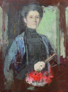 Self-portrait with brush and flowers Olga Boznańska (Polish, Oil on panel. Boznańska's mature works, in which dress and interior are painted with. Art Photography Portrait, Portraits, Colombian Art, Female Painters, Oil Painters, Russian Painting, Ukrainian Art, Turkish Art, Canadian Art