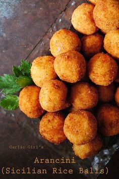This recipe for Garlic Girl's Arancini (Sicilian Rice Balls) is a version of the dish my Sicilian aunts would make for our family gatherings. Italian Rice Balls Recipe, Rice Recipes, Cooking Recipes, Recipies, Vegetarian Recipes, Sicilian Recipes, Sicilian Food, Arancini Recipe, Rice Dishes