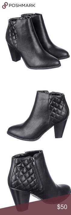 Brand new boots Ladies it's a must that we have shoes in our wardrobe that can cross into several occasions, like the Rebel-24. The Rebel-24 ankle boot features a smooth, black upper giving it a classic look. Wear these from the office to dinner or happy hour with a pair of light colored skinny jeans and a black fitted blouse.   Heel height: 3.5 in. Shaft: 3.5 in.  Opening: 9 in. Vegan leather Quilted design on heel Side zipper closure  Lightly cushioned insole Round toe All man made…
