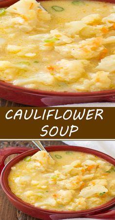 CAULIFLOWER SOUP Chowder Recipes, Easy Soup Recipes, Vegetable Recipes, Vegetarian Recipes, Cooking Recipes, Bean And Bacon Soup, Califlower Recipes, Soup Kitchen, Cauliflower Soup