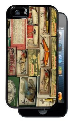 Vintage Fishing Lures - Black iPhone 5 Dual Protective Durable Case by Inked Cases, http://www.amazon.com/dp/B00E0L93LC/ref=cm_sw_r_pi_dp_qkfDsb0N7HNQE