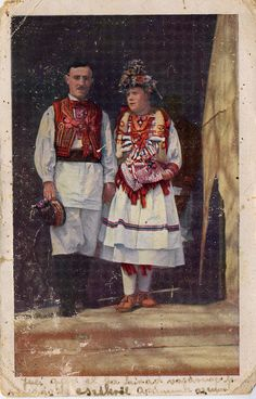 Postcard featuring Croatian traditional costume from Zagreb. Montenegro, Costumes Around The World, European American, Europe Fashion, Ethnic Dress, Folk Costume, Eastern Europe, Ethnic Fashion, World Cultures