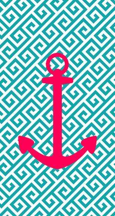 iPhone 5 wallpaper, anchor, pink, blue, aqua, design... I hope u like it :)