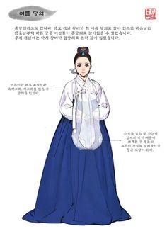 Yeoleum Dang-ui (Summer Chinese Garment) Hangul: 여름 당의 Hanzi: 夏 唐衣 Korean Traditional Clothes, Traditional Fashion, Traditional Dresses, Cinderella Original, Korean Illustration, Korea Dress, Anime Girl Dress, Korean Painting, Korean Hanbok