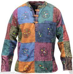 Stonewashed-Grandad-Festival-Shirt-With-Patchwork-Colourful-Hippie-Clothing-Boho