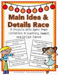 Ideas and Supporting Details Race Freebie Main Ideas and Supporting Details Race Freebie!Main Ideas and Supporting Details Race Freebie! Reading Lessons, Reading Skills, Teaching Reading, Reading Strategies, Guided Reading, Reading Centers, Learning, Close Reading, Reading School