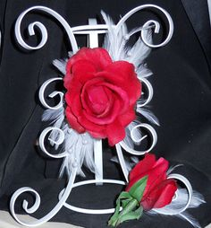 Red Rose Feathered Corsage And Boutonniere Set by TheWeddingPetal, $29.95