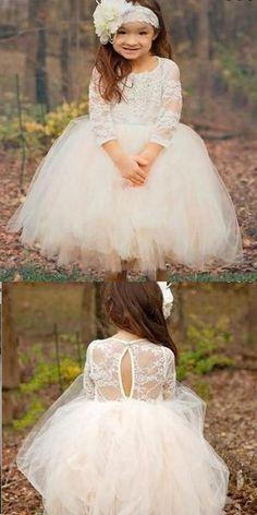 f0f6becd480 A-line Long Sleeves White Tulle Flower Girl Dresses