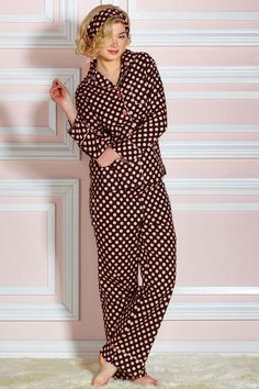 Jessie Steele Brown And Pink Polka Dot Two-Piece PJ Set - Beyond the Rack