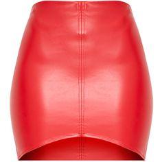 Bekka Red Faux Leather Asymmetric Panel Mini Skirt (28 AUD) ❤ liked on Polyvore featuring skirts, mini skirts, red skirt, short red skirt, leather look skirt, red miniskirt and red faux leather skirt