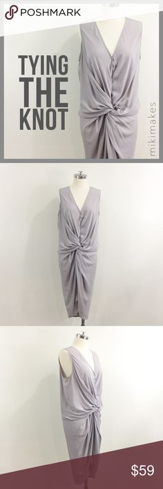 """🆕 MUSTARD SEED • NWT grey twist knot front dress • BRAND NEW with tags super cute light grey dress from Mustard Seed • made of a very soft rayon • front has a twist / knot detail that helps to hug all the right places and hides some not so pretty ones • sleeveless • v-neck with snap closure • size large, but would work best for a size medium and better for someone with smaller hips  100% rayon  ✂️  Bust = 43"""" ✂️  Waist = 40"""" ✂️ Hips = 36"""" ✂️  Length = 48""""  • sorry no trades • please feel…"""