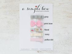 Floral Hair Clip Tiny Bows Small Hair Bow Little Bow