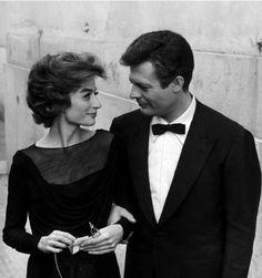 """Anouk Aimée and Marcello Mastroianni in """"La Dolce Vita"""" directed by Federico Fellini, 1960."""