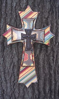 interesting idea to use fabric Decorated Wooden Layered Wall Cross Mosaic Crosses, Wooden Crosses, Crosses Decor, Wall Crosses, Painted Crosses, Decorative Crosses, Cross Love, Sign Of The Cross, Blue Cross