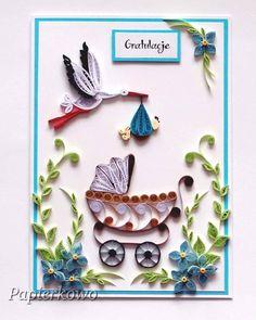 Kartka dla mojej przyjaciółki z okazji narodzin jej synka #quilling #quillingcard #quillingflowers #paperflower