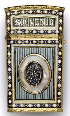A SWISS GOLD-MOUNTED ENAMELLED CARNET-DE-BAL  PROBABLY GENEVA, CIRCA 1780