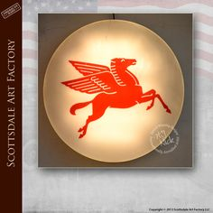 Classic gas station signs Mobil gas red Pegasus lighted sign 4 ft diameter. Original working condition - not a reproduction